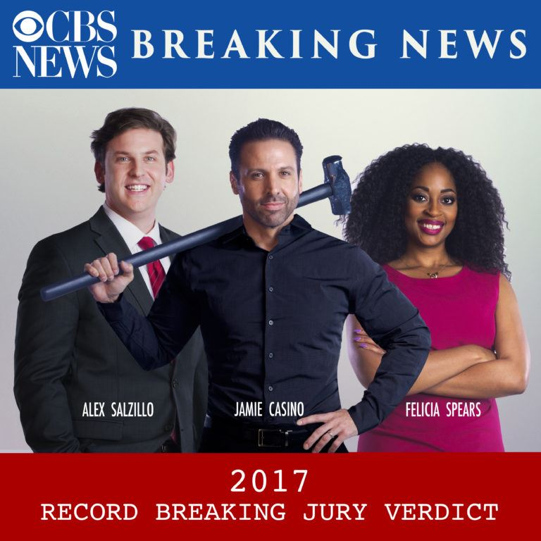 2017 Record-Breaking Jury Verdict, Jamie Casino and legal team
